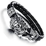 "JewelryWe Schmuck 18cm Herren geflochten Lederarmband, Gotik ""Love"" Totenkopf Schädel Krone 2 Lederkette Armband Partnerarmband Armreif, Schwarz Silber, mit Geschenk Tüte"