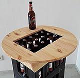Bierkasten Tischaufsatz Partytisch Stehtisch Bistrotisch mit Flaschenöffner, Ø 60 cm, Kiefer endbehandelt mit Leinölfirnis, massiv verleimt -