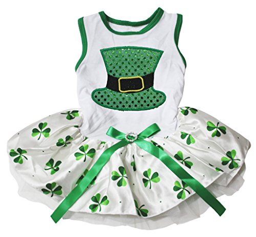 Pet Supply St Patrick Day Green Hat White Cotton Top Clovers Tutu Dog Dress (Medium, Green) - Green Day Hat