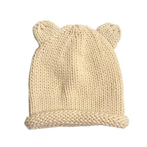 Tongshi Lindo bebé de invierno para niños muchachos de las niñas woolen capsula los sombreros (Beige)