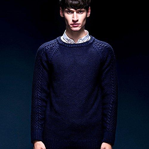 BOMOVO Herren Rundhals Strickpullover Pullover Sweatshirt Slim Fit Blau