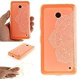 Pour Nokia Lumia 630 N630 Coque,Ecoway Housse étui Flexible protection en TPU Silicone Shell Housse Coque étui creux Slim Case Cover Cuir Etui Housse de Protection Coque Étui Nokia Lumia 630 N630 –La moitié blanche
