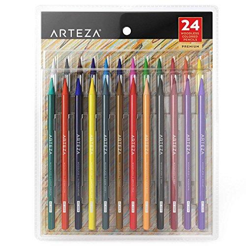 Arteza Lápices de colores sin madera | Paquete de lapiceros para colorear | 24 lápices de colorear para adultos | para colorear libros y mandalas