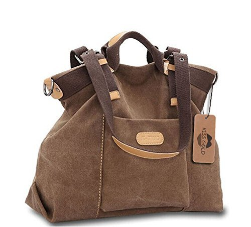 Women's Casual Canvas Top - HandBag / Shoulder Bag - Coffee