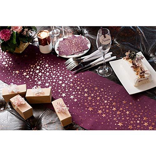 Tischläufer Metallic Sterne Pflaume-Kupfer 28cm x 3m Tischband Tischdekoration Hochzeit