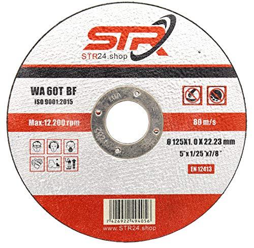 10 Stück Trennscheiben 125 x 1,0mm x 22,23mm für Metall, INOX, Stahl Flexscheibe in Profi Qualität WA 60 T BF