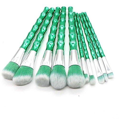 Maquillage Brosse, 10 Pcs/Set Vert Bambou Poignée Brosse Mélange Poudre Ombre à Paupières Contour Concealer Beauté Cosmétique Pinceau Jouet Outil Kit (Color : Green)