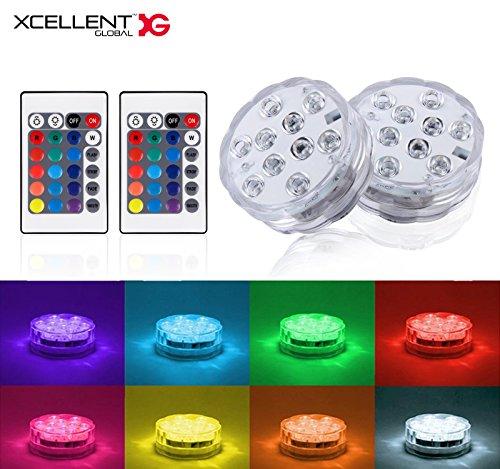 k Untertauchbare LED Lichter Poollichter 10 LED RGB Multi Farbig Wasserfest Hochzeit Party Vase Basis Blumenlicht mit 2 Fernbedienungen LD142 ()