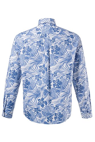 JP 1880 Herren große Größen bis 7XL | Hemd Floral | reine Baumwolle, Langarm, Buttondown | Modern Fit, anliegend | weiß, hellblau, Muster | 711507 Mittelblau