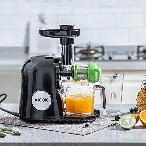Aicok Licuadora para Frutas y Verduras  Licuadora de prensado en frío  silencioso motor Sencillo de usar y limpiar