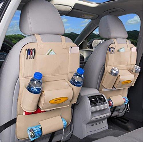 Auto Sac En Cuir PU de Rangement Voiture Multi-poches Arrière Siège Organisateur,Lot de 2 pièces (Beige)