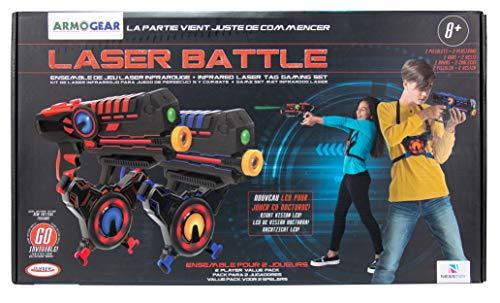 D'Arpèje - Laser Battle - Laser Game - ODAR77 - Set 2 Joueurs : Pistolets Laser + Plastrons - Bleu/Rouge