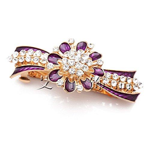 Five Season 1PC Accessoire Cheveux Clips Diamante Attrayant Forme Fleur pour Femme 8,5 *4,5cm Pourpre