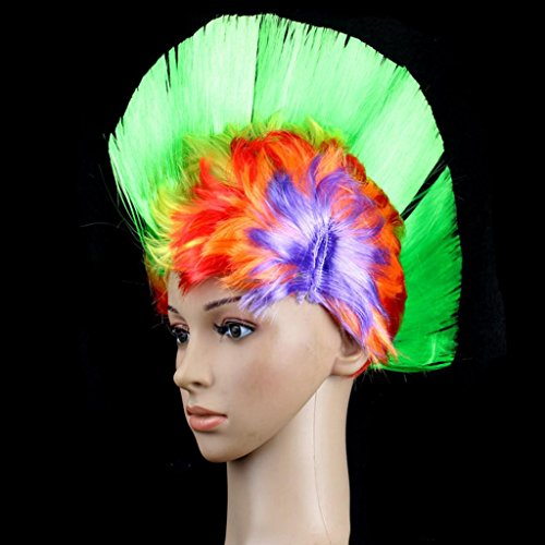 DZW Street Punk Mohawk Wig?Europe and the United States personalized wig - festive performances male and female children common-Multi-Colour , rainbow green (Objekt Kopf Kostüm)
