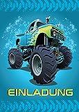 12 Einladungskarten zum Kindergeburtstag Monstertruck blau / Monster-Truck / Auto / Einladungen zum Geburtstag für Jungen (12 Karten)