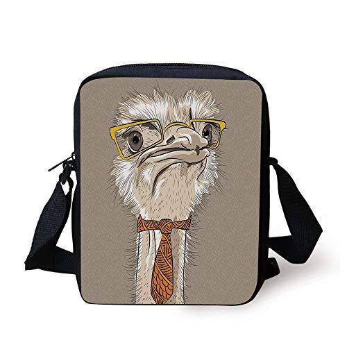 Indie,Sketch Portrait of Funny Modern Ostrich Bird with Yellow Eyeglasses and Tie,Taupe Beige Yellow Print Kids Crossbody Messenger Bag Purse -