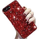 Coque Diamant iPhone 7 8,LCHDA Coque iPhone 7 8 Strass Diamant Rouge 3D Bling Bling Brillant Paillette Transparente Silicone Antichoc Étui Housse Couverture pour Femme Fille Ado