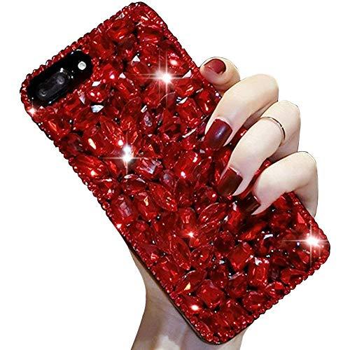 LCHDA iPhone 6 6S Diamant Hülle,Handyhülle Apple iPhone 6 6S Glitzer Rot Strass Bling Bling Case Glänzend Durchsichtig Kristall Steine Silikon Hardcase Schutzhülle -