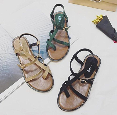 PBXP Clip Toe Beliebte Flat Cross Strap College Frauen Comforty Casual OL All-Matched Sandalen Prime Day EU Größe 35-39 Black