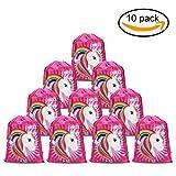 Konsait Unicorno Sacca da palestra Borsa da Coulisse zaino Gym Sacco per bambini ragazze regalo sacchetti festa di compleanno unicorni - set di 10