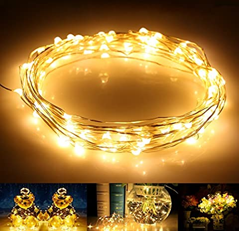 LED String Lights, AllBlue Fairy Lights, Waterproof 39ft 12M 120LEDs Copper Wire Starry String Lights Indoor Outdoor for Christmas Bedroom Home Party Decoration with 12V DC Power Adapter - Warm