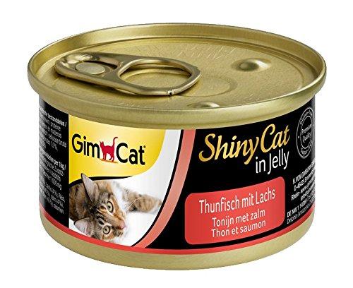 GimCat ShinyCat - Boîtes pour chats en gelée - Avec des morceaux de thon et de saumon - Lot de 24 x 70 g