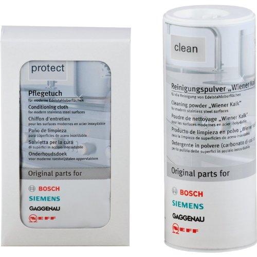 Bosch/Siemens 311140 - Juego de limpieza de acero (producto de limpieza de 100 g y 5 toallitas)
