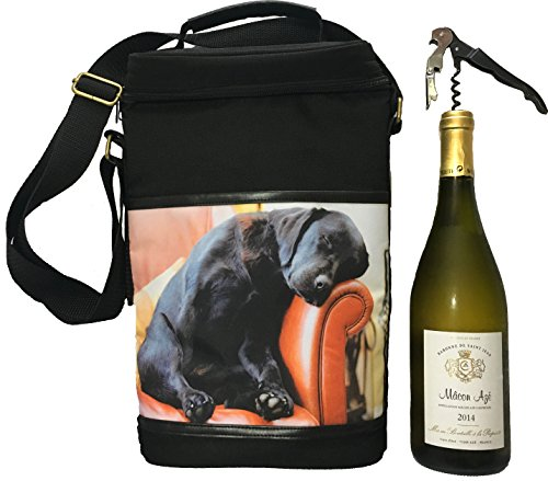 Country Matters Sleeping Lab Motif chien Sac pique-nique à vin isotherme, Polyester, Multicolore, 10 x 23 x 34 cm