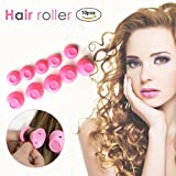 JaLL Hair Curlers, Hair Rollers Curly Hair Curlers for Men Natural Long Hair Rollers No Heat DIY Hair Styling Tools Salon Accessory Hairstyle Maker (Pink)