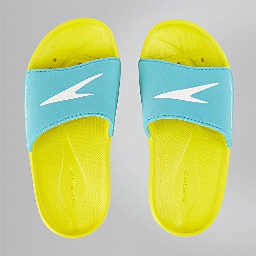 Speedo Unisex-Kinder Atami Core Slide Dusch-& Badeschuhe, Mehrfarbig (Empire Yellow/Bali Blue 000), 34.5 EU
