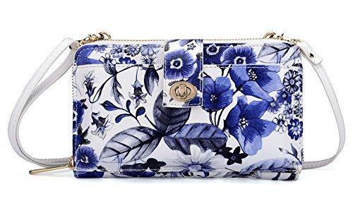 LA GRACERY Borsetta in morbida pelle, con cinturino a portafoglio o con tracolla, scomparti per carte di credito, per smartphone iPhone 7/6 plus , colore:flora