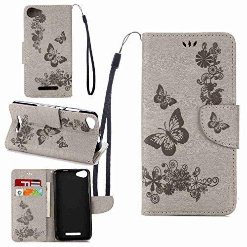 Schutzhülle Für Wiko Jerry (5.0 zoll) , pinlu® Handyhülle Hohe Qualität PU Ledertasche Brieftasche Mit Stand Function Innenschlitzen Design Groß Schmetterling Grau