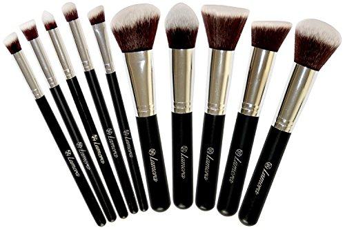 Set de Brochas - Kabuki Para Base de Maquillaje, Polvos, Rubor y aplicación de Corrector - Con Pelo Sintético Calidad Premium - Colección de 10 Piezas incluye Brochas Faciales y para Ojos - Perfectas para Productos Minerales, Líquidos o Cremosos - Negro