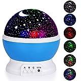 CMXX Sternprojektor, Mehrere Farben Nachtlicht, Romantisch 360 Grad Drehen Sternprojektor, Mondlampe Für Kinder Kinderzimmer, Baby Nachtlichter Mit 8 Farben,Blau