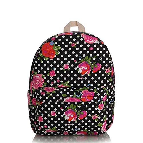 OUFLY Deep Blue & Plum Flower Vintage bedruckte Blumensegeltuch Rucksack Schule Laptop Tasche Outdoor Knapsack Tasche für Frauen Mädchen Jugend Red & Pink Rose