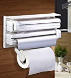 #7: Gion Kitchen Triple Paper Dispenser & Holder with Tissue Paper Roll,Aluminum Foil,and Plastic Wrapping Film Holder Stand