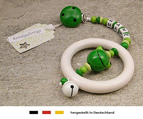 kleinerStorch Baby Kinderwagen Anhänger mit NAMEN | Kinderwagenkette mit Wunschnamen - Mädchen & Jungen Motiv Frosch in grün