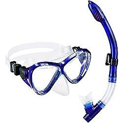 OMORC Gafas Buceo con Tubo, Seco Superior Gafas Snorkel, Resistente Rotura y A Prueba de Rasguños Máscara de Buceo para Adultos y Juniors-Azul