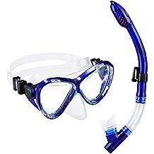 Gafas y Tubo de Buceo de OMorc, Top Set de Snorkel con Templado antiniebla cristal Máscara de buceo en seco para Adultos y Junior, Azul