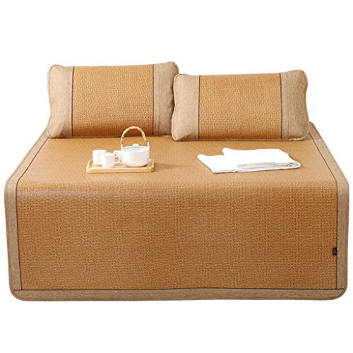 Bamboo Liang Mat Source Rattan Sitz 1,8 m Bett Drei Sätze von Natürliche Dicke Klimaanlage Falten 1,5 Meter Doppel (Größe : 180*200cm) (Doppel-bett-satz)