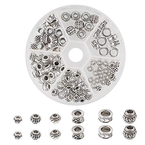Stück/Box tibetischen Legierung Spacer Perlen mit großem Loch für Armband Halskette Schmuck Machen ewelrys Zubehör, 6 Stile, Antik Silber ()