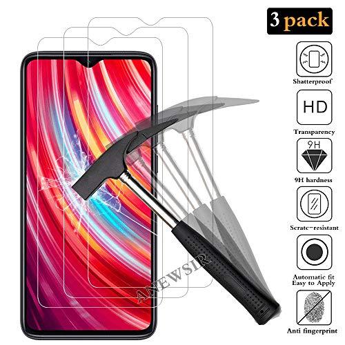 ANEWSIR pour Xiaomi Redmi Note 8 Pro Verre Trempé,Xiaomi Redmi Note 8 Pro Protection écran,[sans Bulle][9H dureté][Anti-Rayure][Coque Compatible][3 Pièce]