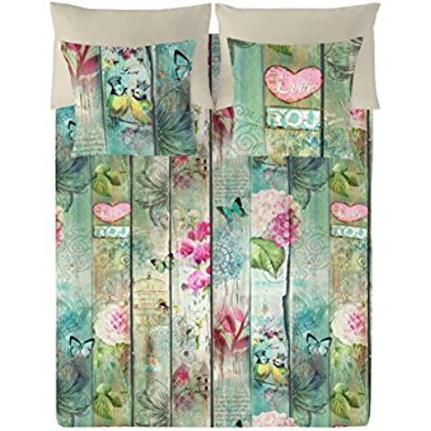 Naturals  Juego De Funda Nórdica Lovers Verde/Beige Cama 150 (240 x 220 cm + 2/45 x 90 cm)