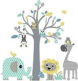 DecoDeco Wandtattoo Baum safari Blau. Wandbild im Baummotiv mit vielen Tieren: Elefant Giraffe Löwe Affe Eule. Schönes Wandsticker für das Kinderzimmer.