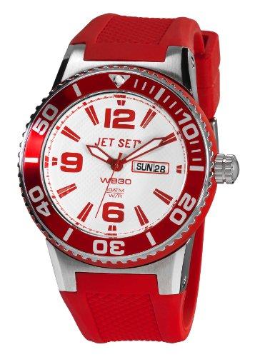 Jet Set - J55454-168 - Wb30 - Montre Mixte - Quartz Analogique - Cadran Blanc - Bracelet Caoutchouc Rouge