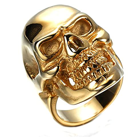 KnSam Bague Homme Acier Inoxydable Bagues Anneau PunkStyle Heavy Metal Crâne Tête de Mort Bijoux Homme Or Taille 61.5 [Bague Gothique]