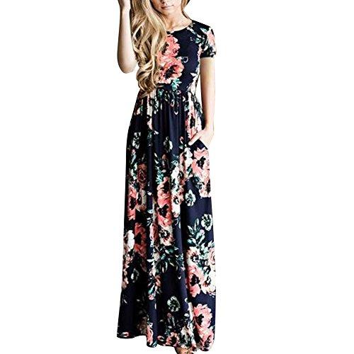 Lover-Beauty Kleider Damen Blumen Kleid Elegant Langarm Maxikleid Floral Print Böhmischen Strand Maxi Kleid Casual Floral Print Maxi-kleid