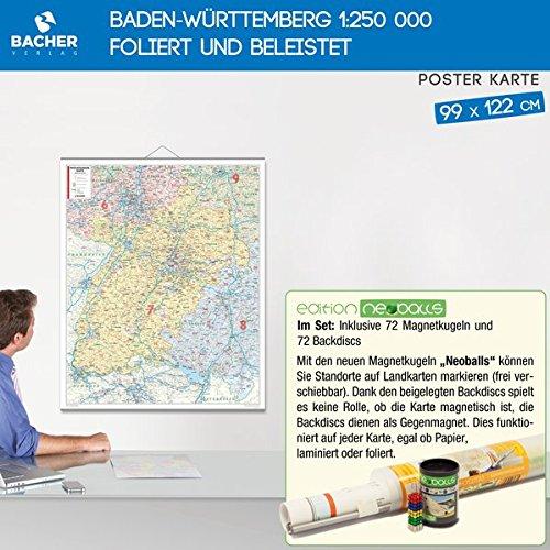Baden-Württemberg 1:250 000 foliert und beleistet, Edition Neoballs: Inklusive Set aus 72 Magnetkugeln (4x18 Stück grün, gelb, blau, rot), 72 Backdiscs zum Markieren auf der Karte.