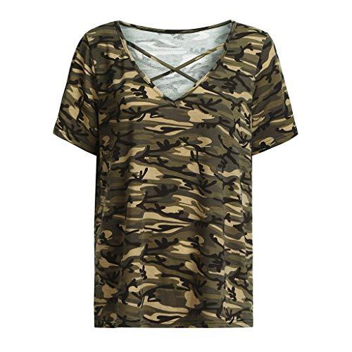 TWIFER Damen Casual V Ausschnitt Plus Size Camouflage Aushöhlen Tops T ()