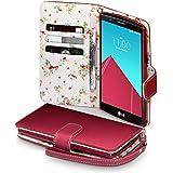 LG G4 Cover, Terrapin Handy Leder Brieftasche Case Hülle mit Kartenfächer für LG G4 Hülle Rot mit Blumen Interior